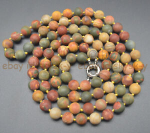 6/8/10mm Matte Multicolor Picasso Jasper Round Gemstone Beads Necklace 16-36''