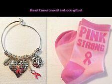 Breast Cancer Awareness Pink Ribbon Bangle Bracelet Pink Strong Socks Gift Set