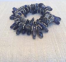 Handmade Blue and Silver Stretchy Bracelet Set