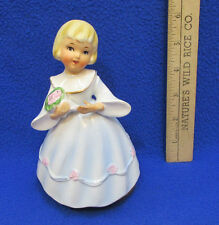 Happy Birthday Musical Figurine Girl in Dress Holding Bouquet Schmid Bros
