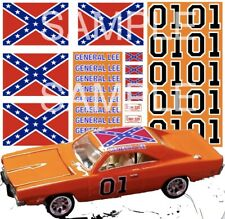 1/64 GENERAL LEE WATER-SLIDE DECALS FOR HOT WHEELS, MATCHBOX, SLOT CAR:
