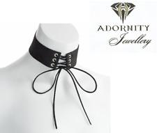 Black velvet look platted tie choker necklace. fashion jewellery UK SELLER