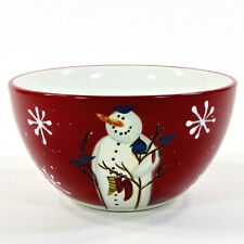"""Certified International TWILIGHT SNOWMAN 24oz Cereal Soup 6"""" Bowl Red Stockings"""
