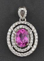 14KT White Gold Natural Pink Tourmaline 2.40 Carat EGL Certified Diamond Pendant