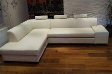 Weiß Rindsleder Ecksofa Echt Leder + Kopfstützen Sofa Couch Creme Beige Braun