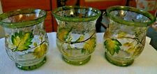 Three Beautiful Crackle Glass English Ivy Hurr Candle Holder w Green Leaves