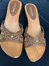 River Island Natural Leather Wood Wedge Mules Size UK5/Eu38 WITH DEFECTS £30 Tag