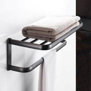 Oil Rubbed Bronze Wall Mount Bathroom Accessories Shelf Towel Rack Holder ZD1691