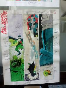 originalzeichnung / seite, superman batman JLA original color guide art page