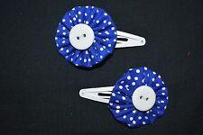 Girls Royal Blue Spot hair clips - handmade
