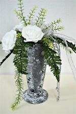 Blumengesteck Vase Rosen weiß grau Kunstblume Seidenblumen Arrangement SHABBY