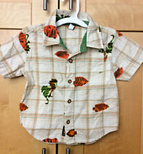 Baby Gap Toddler Boy's Plaid Orange & Green Fish Hawaiian Cotton Surf Shirt 3T