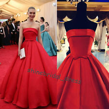Strapless Red Carpet Dress Satin Wedding Prom Party Formal Quinceanera Ball Gown