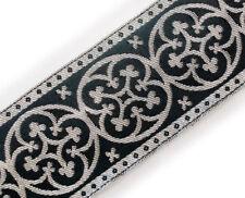 """Jacquard Trim. Black & Silver. Pugin Antique Reproduction. Vestment 2¼"""" Wide DIY"""