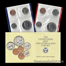 1990 P+D U.S. Mint Set ~ Kennedy Washington Roosevelt Jefferson Lincoln US Coins
