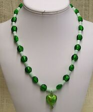 Necklace Handmade with Green Cat's Eye Beads and Green Foil Beads Heart Pendant