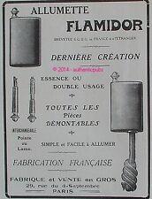 PUBLICITE FLAMIDOR ALLUMETTE BRIQUET SIMPLE FACILE DE 1915 LIGHTER FRENCH AD PUB