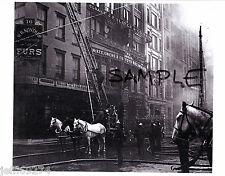 FDNY @ FIRE ON 8th STREET MANHATTAN NYC Greenwich Vlg VINTAGE PHOTO 1898 FreeShp