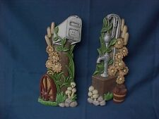 Vintage Chalkware Mailbox & Well Pump Wall Plaques