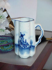 Antique Flow Blue Design Blue Windmill Pitcher Ewer Signed Vintage Estate Piece