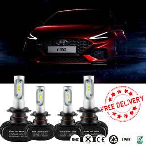 4x H7 Headlight Globes For Hyundai i30 GD YF 2012-2016 High Low beam LED Bulbs