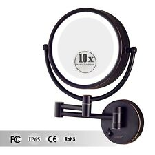 GURUN 10X Magnifying Lighted Makeup Mirror led Hard Wired Wall Mount Oil Bronze