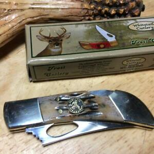 """Frost Whitetail Ridge Runner Rocky Mtn Stag Bone 3"""" Lockback Knife FWT2363RMS"""