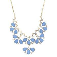 "16"" Blue Sandstone Clear Rhinestone Gold Charmadillo Jewelry Flower Necklace"