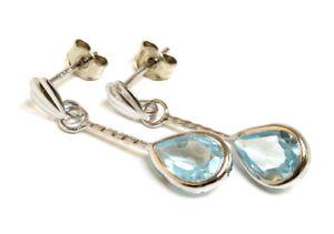 9ct White Gold Blue Topaz Teardrop Earrings Made in UK Gift Boxed Birthday Gift