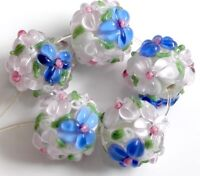 10pcs exquisite handmade Lampwork glass  beads white blue flower round 15mm