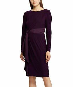 Ralph Lauren Satin Trim Sash Long Sleeve Raisin Purple Dress Womens Size 6