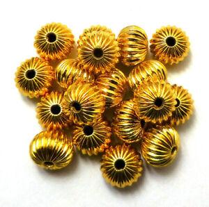 60 PCS 6X5MM CORRUGATED RONDELLE BEAD 18K GOLD PLATED 729 UFL-406
