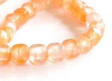 Czech glass - Cube x 100, Orange crystal, 4mm, Preciosa fire polished beads