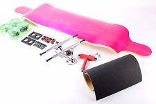 "41"" Blank Pink Drop Down Longboard with Clear Green Wheels Complete Kit"