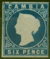 Gambia 1869 6d Dp Blue SG3 Forgery Unusual