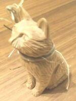 Vintage Hand Carved Wood Cat Kitty Folk Art Quebec St Jean Port Joli Canada SIGN