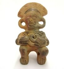 HANDMADE PERUVIAN MEXICAN CLAY POTTERY WHISTLE FLUTE OCARINA SITTING TRIBAL  MAN