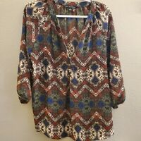 Zac & Rachel Women's Multicolored Boho Paisley 3/4 Sleeve V-Neck Blouse Size Med