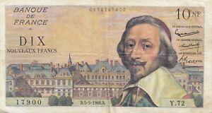 Billet 10 F Richelieu du 5-5-1960 FAY 57.07 alph. Y.72