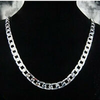 """925Sterling Silver 10MM Flat Sideway Strong Chain Necklace 18""""-24"""" N005"""