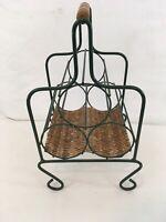 Vtg Formed Steel Wire Rattan Shabby Chic Wine 3 Bottle Carrier Rack
