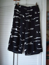 Black & White 3/4 Palazzo Wide Leg  Baggy Short Flared Summer Trouser small 8/10