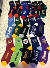 NFL TEAM FOR BARE FEET QUARTER STYLE SOCKS  MEN'S LARGE 10-13   CHOOSE YOUR TEAM