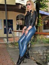 Leggings Pantalon Gris Bleu Cuir Synthétique Taille Haute Taille US M