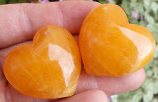 1 x Polished Orange Calcite Crystal Heart. Ref:B.OCH Minerals Crystals