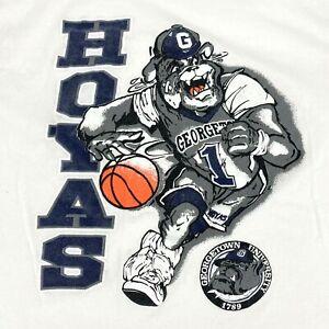 Vintage Georgetown Hoyas Bulldogs Basketball Single Stitch White T Shirt Size L