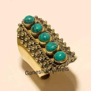 Lovely Turquoise Brass Rings 925 Tibten Silver Rings Rings Adjustable Rings