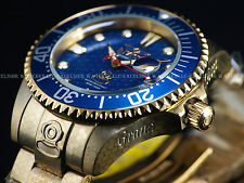 """Invicta Mens 300M """"Fish Scale"""" Grand Diver Automatic 18K Gold IP Blue Dial Watch"""