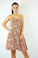 Ex New Look Rust+Ivory Print Front Buttons Straps Fit & Flare Dress Size 6-12