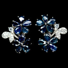 NATURAL BLUE SAPPHIRE & CZ STERLING 925 SILVER EARRINGS